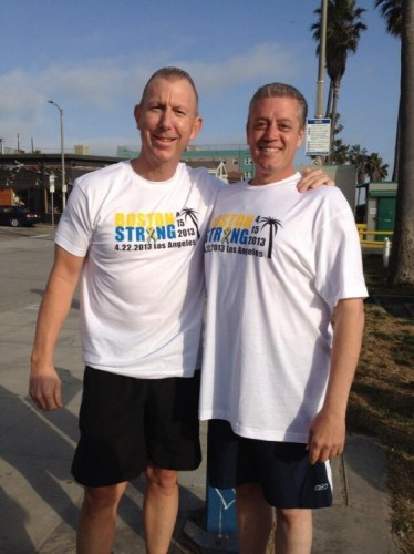 Captain Jon Peters picutred on the left supporting the Boston Strong run at Venice Beach.
